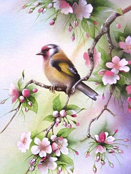 Bird Sitting on Pink Floral Branch - diamond-painting-bliss.myshopify.com