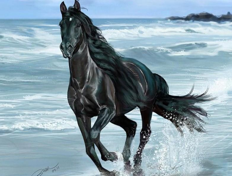 Black Horse Running in Water - diamond-painting-bliss.myshopify.com