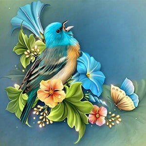 Blue Sparrow & Flowers - diamond-painting-bliss.myshopify.com
