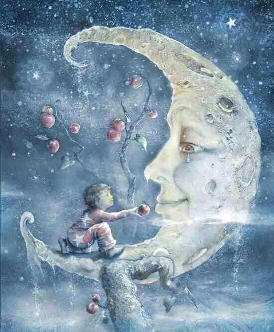 Boy feeding Moon - diamond-painting-bliss.myshopify.com