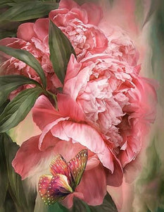 Butterfly & Pink Peonies Diamond Painting - diamond-painting-bliss.myshopify.com