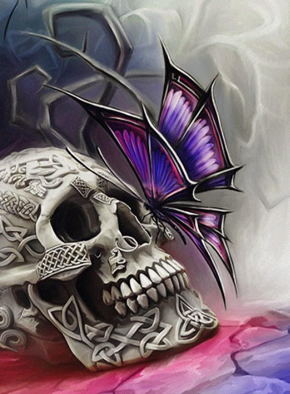 Butterfly & Skull Diamond Painting - diamond-painting-bliss.myshopify.com