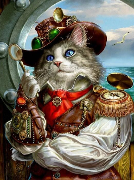 Captain Cat - Paint with Diamonds - diamond-painting-bliss.myshopify.com