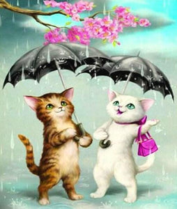 Cartoon Cats in the Rain - diamond-painting-bliss.myshopify.com
