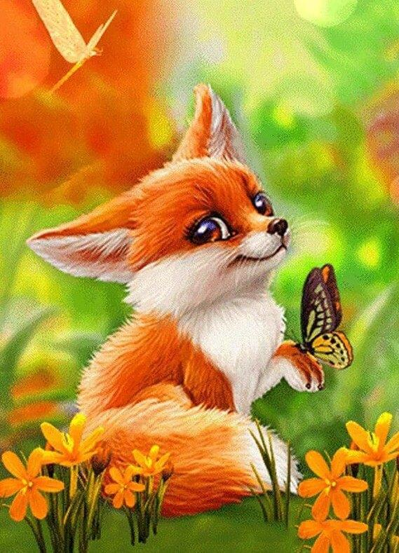 Cartoon Fox & Butterfly - diamond-painting-bliss.myshopify.com