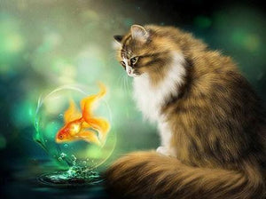Cat & Goldfish Painting - diamond-painting-bliss.myshopify.com