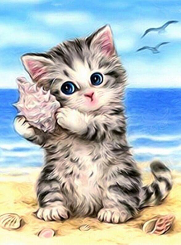 Cat on the Beach Painting Kit - diamond-painting-bliss.myshopify.com