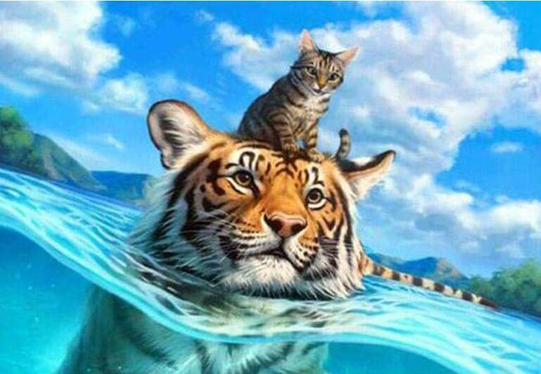 Cat & Tiger Swimming - diamond-painting-bliss.myshopify.com