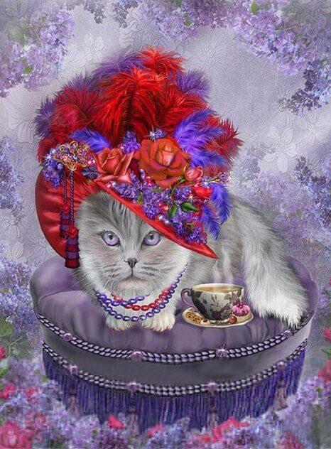 Cat with a Floral Hat & Tea - diamond-painting-bliss.myshopify.com