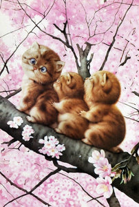 Cats on Cherry Tree - diamond-painting-bliss.myshopify.com