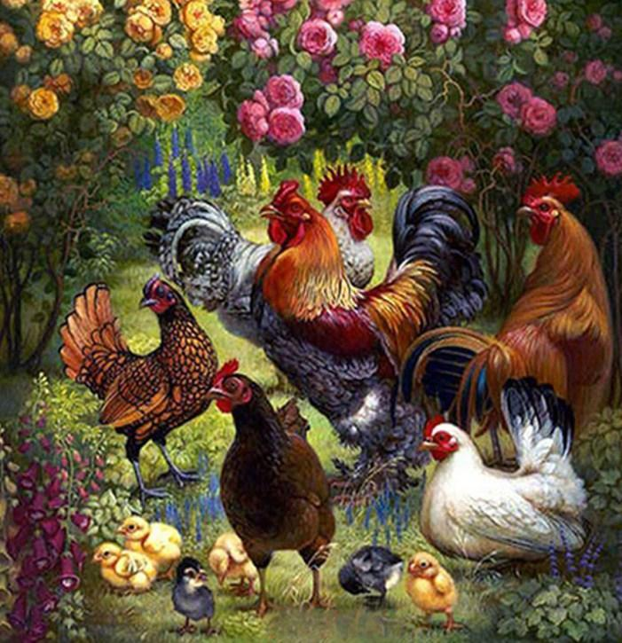 Chickens in the Garden - diamond-painting-bliss.myshopify.com