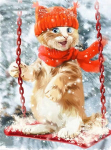 Christmas Cat on Swing - diamond-painting-bliss.myshopify.com