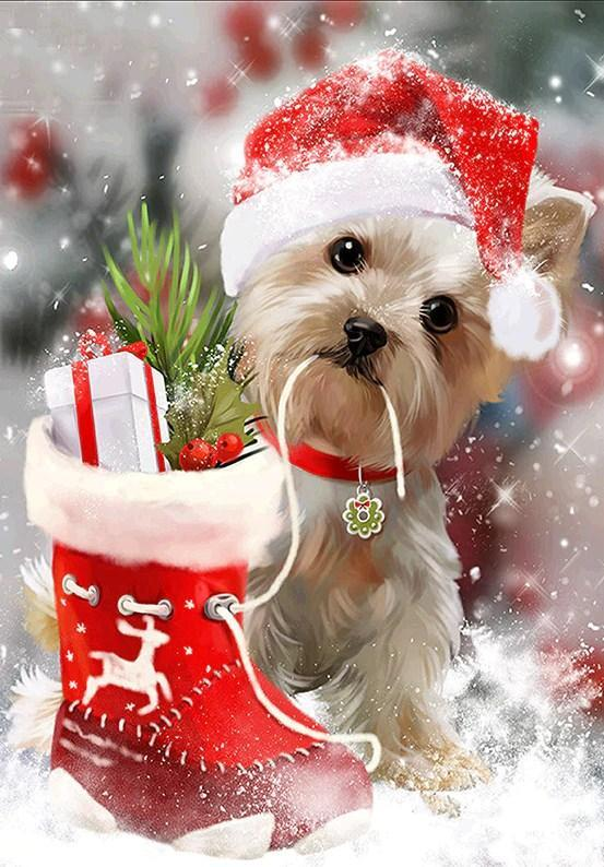 Christmas Dog Diamond Painting - diamond-painting-bliss.myshopify.com