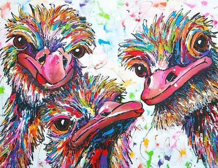 Colorful Ostrich Painting Kit - diamond-painting-bliss.myshopify.com