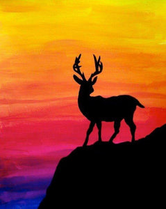 Colorful Sky & Deer Painting - diamond-painting-bliss.myshopify.com