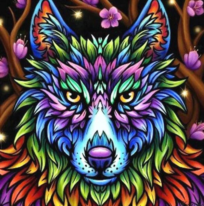 Colorful Wolf - Paint by Diamonds - diamond-painting-bliss.myshopify.com