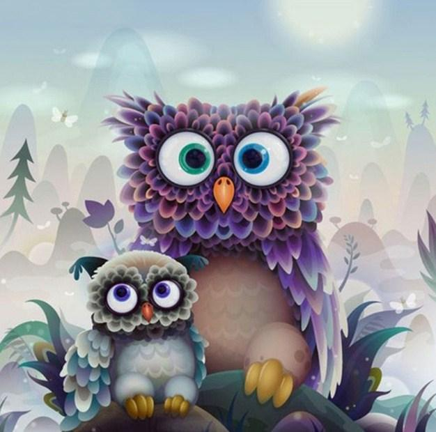 Cute Cartoon Owls - diamond-painting-bliss.myshopify.com