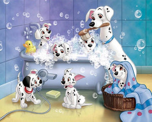 Dalmatians Having Bath Fun - diamond-painting-bliss.myshopify.com