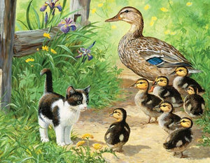 Duck Family & Kitten - diamond-painting-bliss.myshopify.com