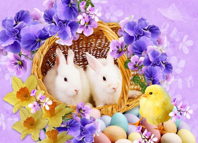 Easter Rabbits & Little Chick - diamond-painting-bliss.myshopify.com