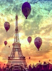 Eiffel Tower & Hot Air Balloons - diamond-painting-bliss.myshopify.com