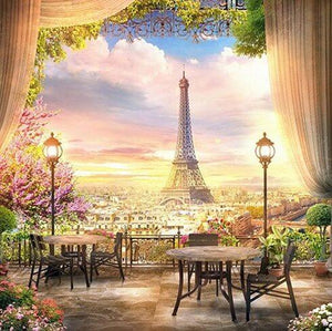 Eiffel Tower View from Hotel Terrace - diamond-painting-bliss.myshopify.com