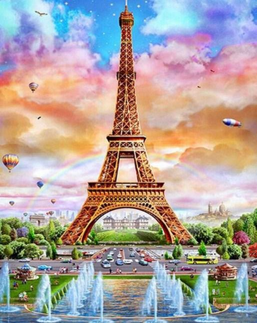Eiffel Tower & Water Fountains - diamond-painting-bliss.myshopify.com
