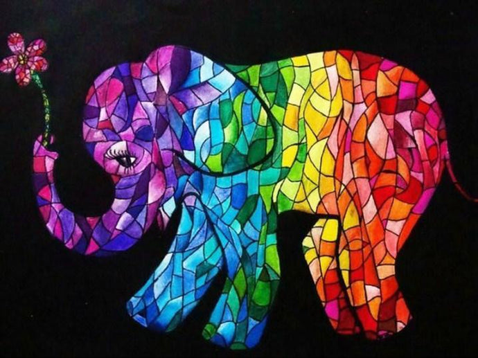 Elephant Art Stained Glass Diamond Painting - diamond-painting-bliss.myshopify.com