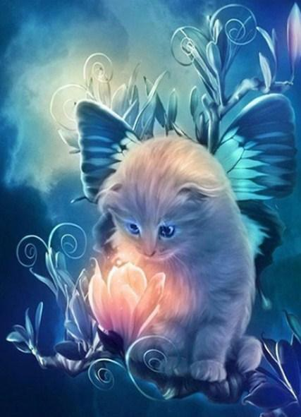 Fairy Cat - paint by Diamonds - diamond-painting-bliss.myshopify.com