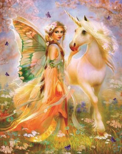 Fantasy Fairy with Her Unicorn - diamond-painting-bliss.myshopify.com