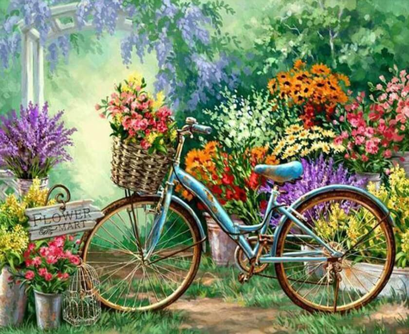 Flowers Market & Bicycle - diamond-painting-bliss.myshopify.com