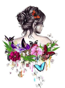 Flowers & Butterflies on her Back - diamond-painting-bliss.myshopify.com