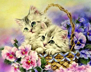 Flowers & Kittens in Basket - diamond-painting-bliss.myshopify.com