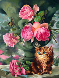 Flowers and Cat - diamond-painting-bliss.myshopify.com