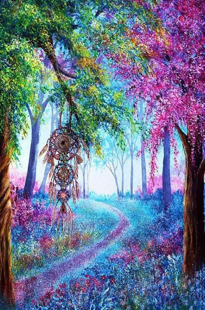 Forest Dream Catcher Diamond Painting - diamond-painting-bliss.myshopify.com