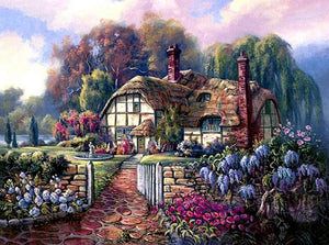 Garden Cottage by Thomas Kinkade - diamond-painting-bliss.myshopify.com