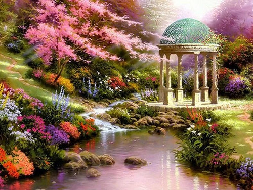 Gazebo by the Lake - Thomas Kinkade - diamond-painting-bliss.myshopify.com