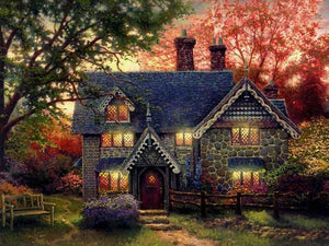 Gingerbread Cottage by Thomas Kinkade - diamond-painting-bliss.myshopify.com