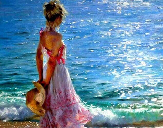 Girl Looking the Sea - diamond-painting-bliss.myshopify.com