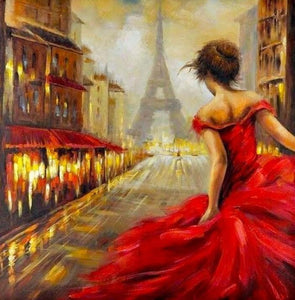 Girl in Red Dress & Eiffel Tower - diamond-painting-bliss.myshopify.com
