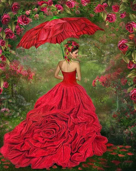 Gorgeous Girl in Rose Gown - diamond-painting-bliss.myshopify.com