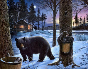 Grizzly Bear & Babies in Snow - diamond-painting-bliss.myshopify.com