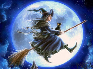 Halloween Witch & Cat on Broom - diamond-painting-bliss.myshopify.com