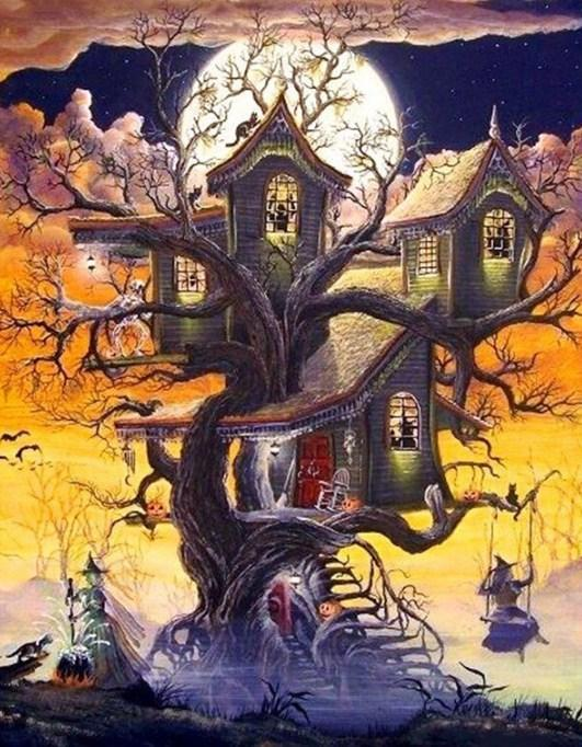 Haunted Tree House & Witches - diamond-painting-bliss.myshopify.com