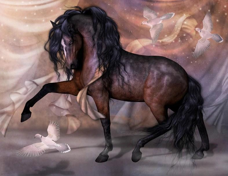 Horse & Pigeons Diamond Painting - diamond-painting-bliss.myshopify.com