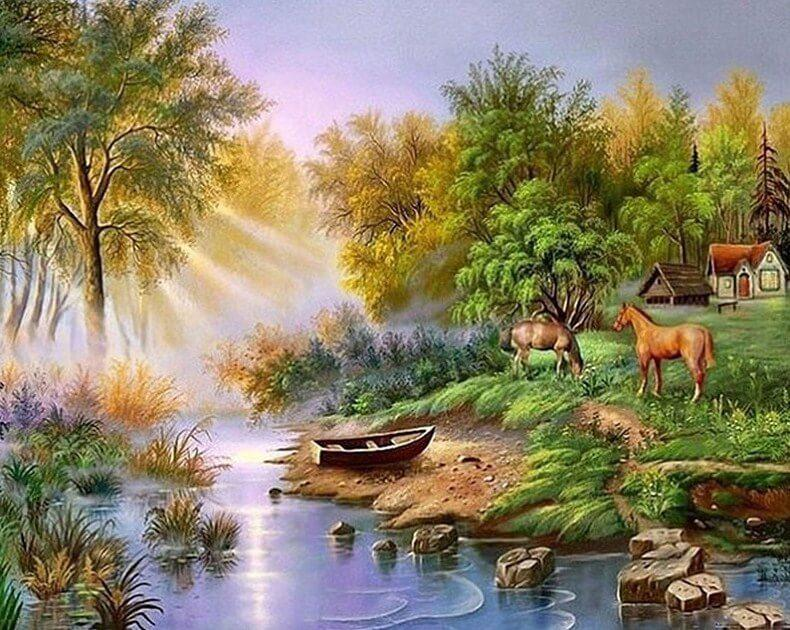 Horses Grazing by the Lake - diamond-painting-bliss.myshopify.com