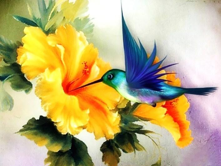 Humming Bird & Yellow Flower - diamond-painting-bliss.myshopify.com