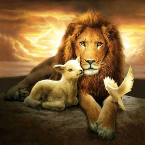Lion, Lamb & Pigeon - diamond-painting-bliss.myshopify.com