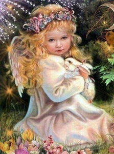 Little Angel Girl with Rabbit - diamond-painting-bliss.myshopify.com
