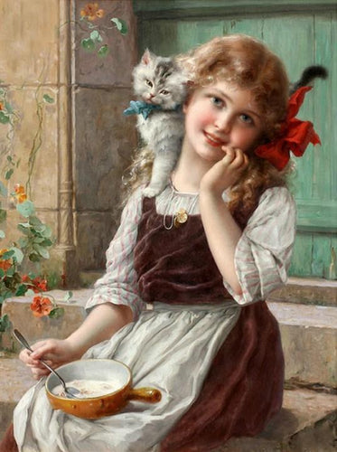 Little Girl with Kitten by Emil Vernon - diamond-painting-bliss.myshopify.com